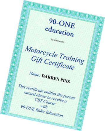 90-ONE Rider Education gift certificate