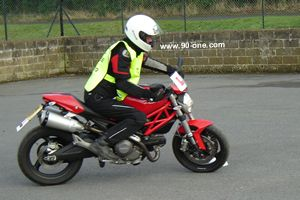 Slow control of a bigger bike on a big bike training refresher course using a Ducati Monster 696